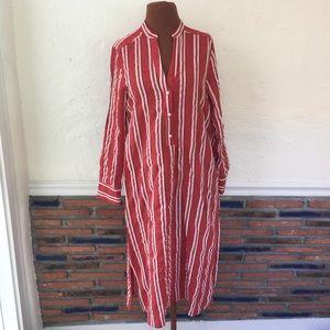 Zara Red & White Stripe Linen Midi Dress